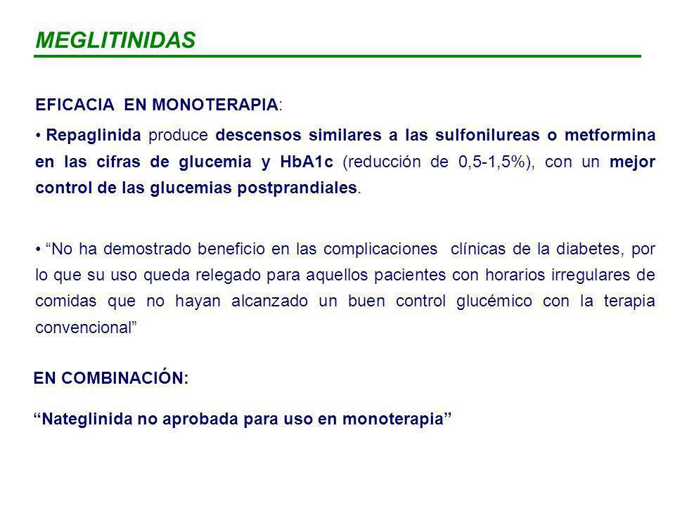 MEGLITINIDAS EFICACIA EN MONOTERAPIA: