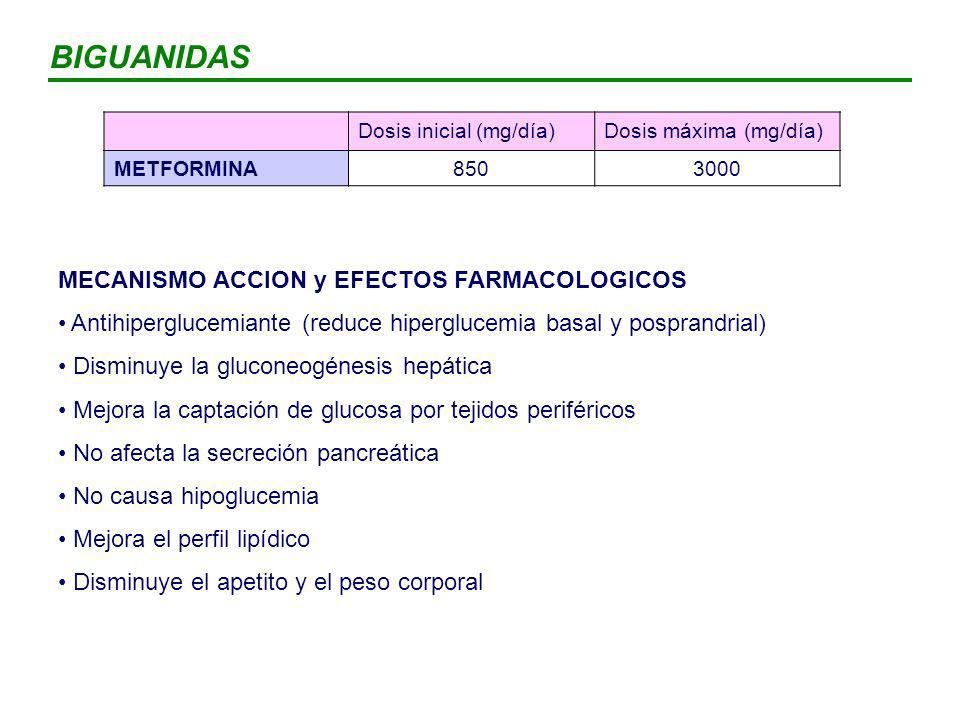 BIGUANIDAS MECANISMO ACCION y EFECTOS FARMACOLOGICOS