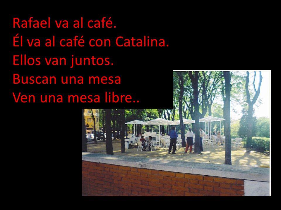 Rafael va al café. Él va al café con Catalina. Ellos van juntos.
