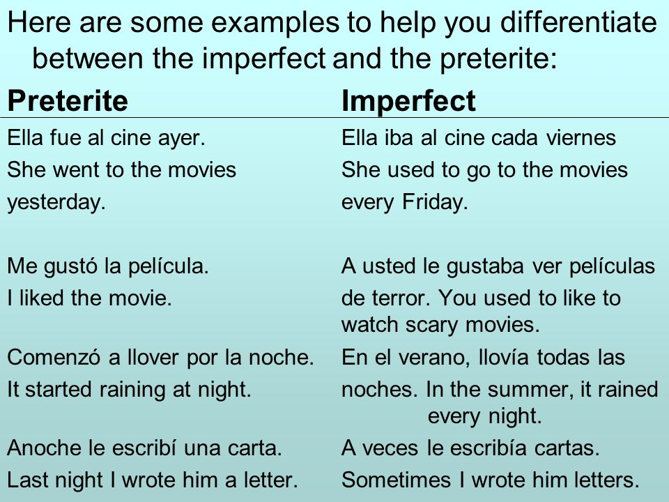Here are some examples to help you differentiate between the imperfect and the preterite: