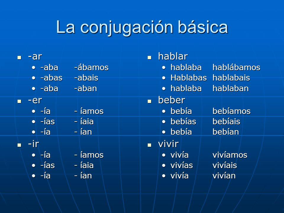 La conjugación básica -ar -er -ir hablar beber vivir -aba -ábamos