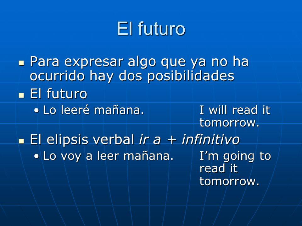 El futuroPara expresar algo que ya no ha ocurrido hay dos posibilidades. El futuro. Lo leeré mañana. I will read it tomorrow.