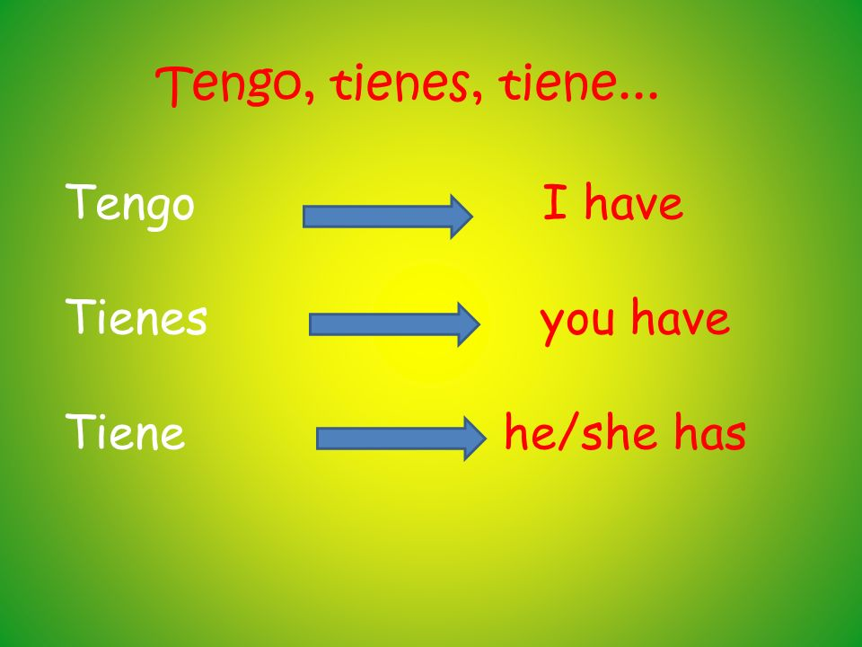 Tengo, tienes, tiene... Tengo I have. Tienes you have.