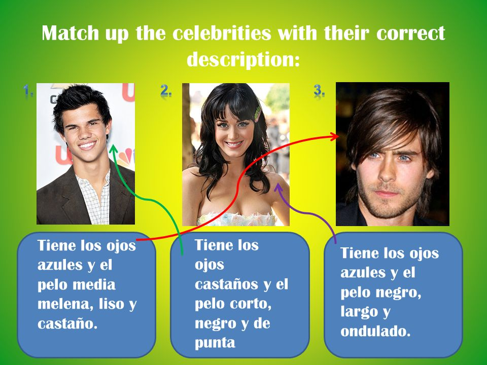 Match up the celebrities with their correct description: