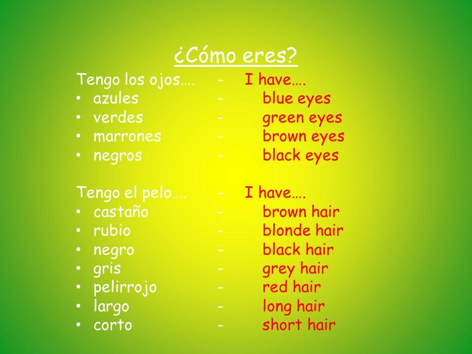 ¿Cómo eres Tengo los ojos…. - azules - verdes - marrones - negros -