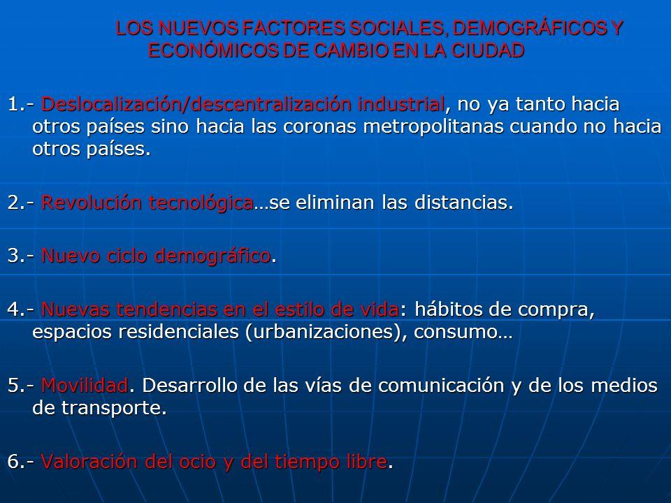 LOS NUEVOS FACTORES SOCIALES, DEMOGRÁFICOS Y ECONÓMICOS DE CAMBIO EN LA CIUDAD