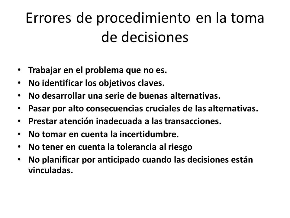 Errores de procedimiento en la toma de decisiones