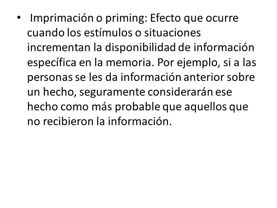 Imprimación o priming: Efecto que ocurre cuando los estímulos o situaciones incrementan la disponibilidad de información específica en la memoria.