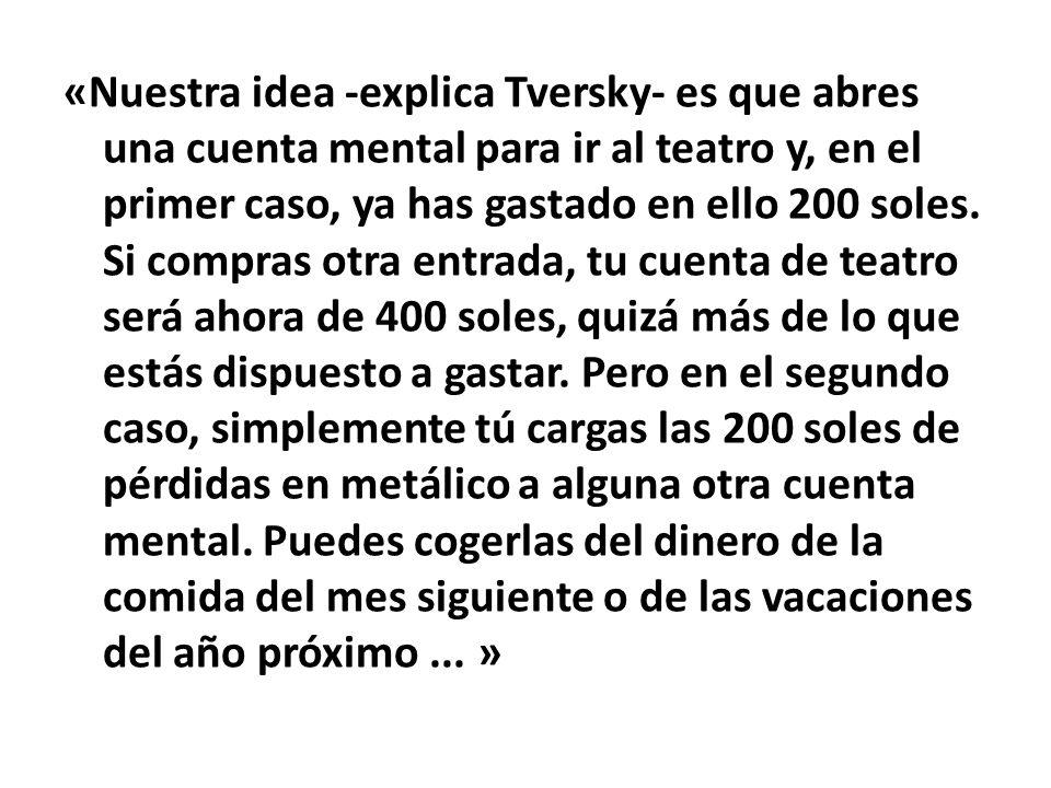 «Nuestra idea -explica Tversky- es que abres una cuenta mental para ir al teatro y, en el primer caso, ya has gastado en ello 200 soles.