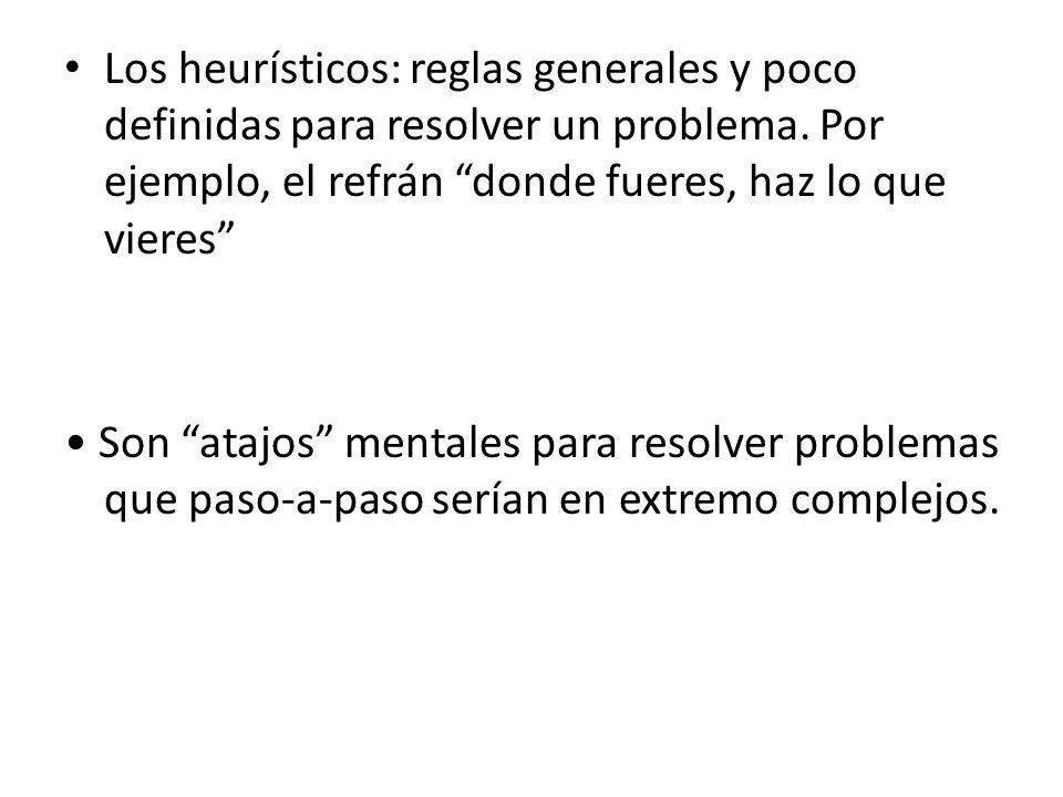 Los heurísticos: reglas generales y poco definidas para resolver un problema. Por ejemplo, el refrán donde fueres, haz lo que vieres