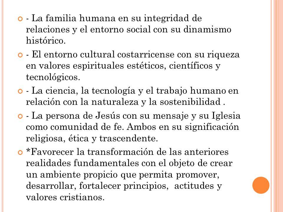 - La familia humana en su integridad de relaciones y el entorno social con su dinamismo histórico.