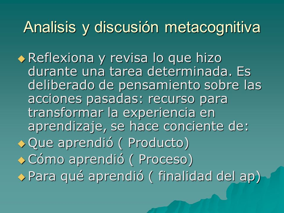 Analisis y discusión metacognitiva