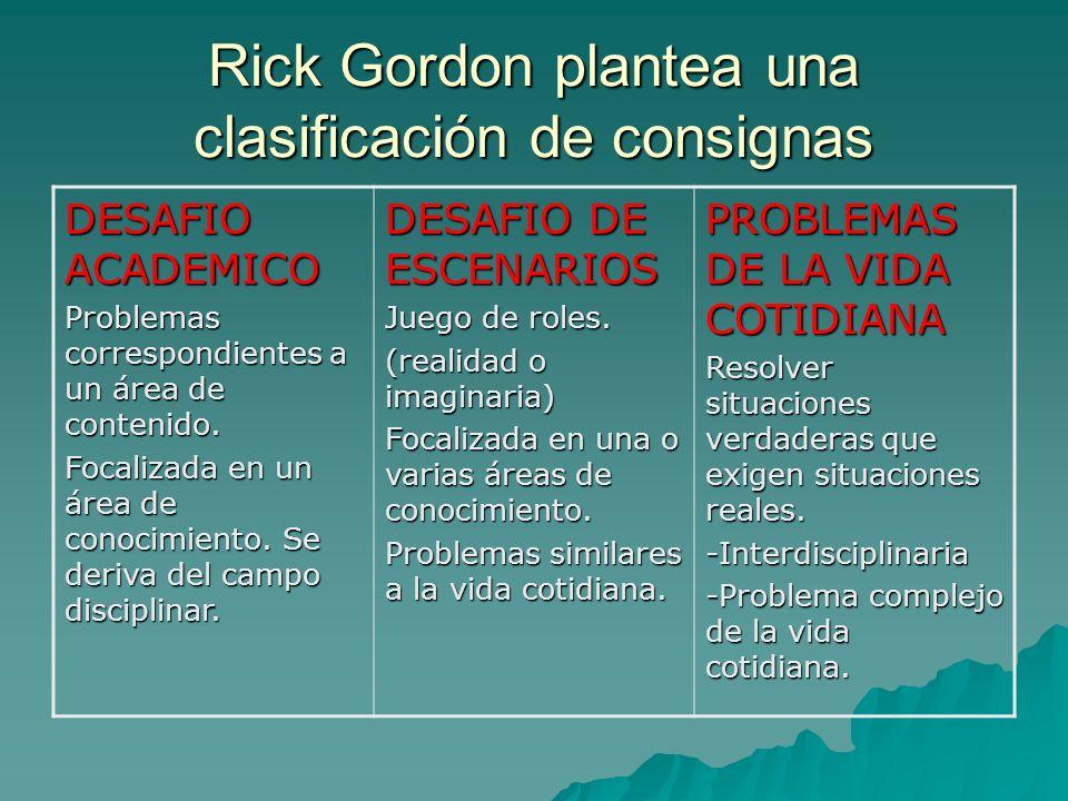 Rick Gordon plantea una clasificación de consignas