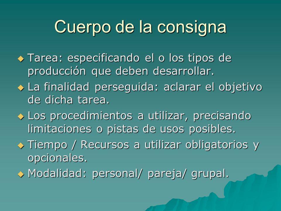 Cuerpo de la consigna Tarea: especificando el o los tipos de producción que deben desarrollar.