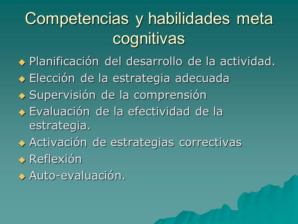 Competencias y habilidades meta cognitivas