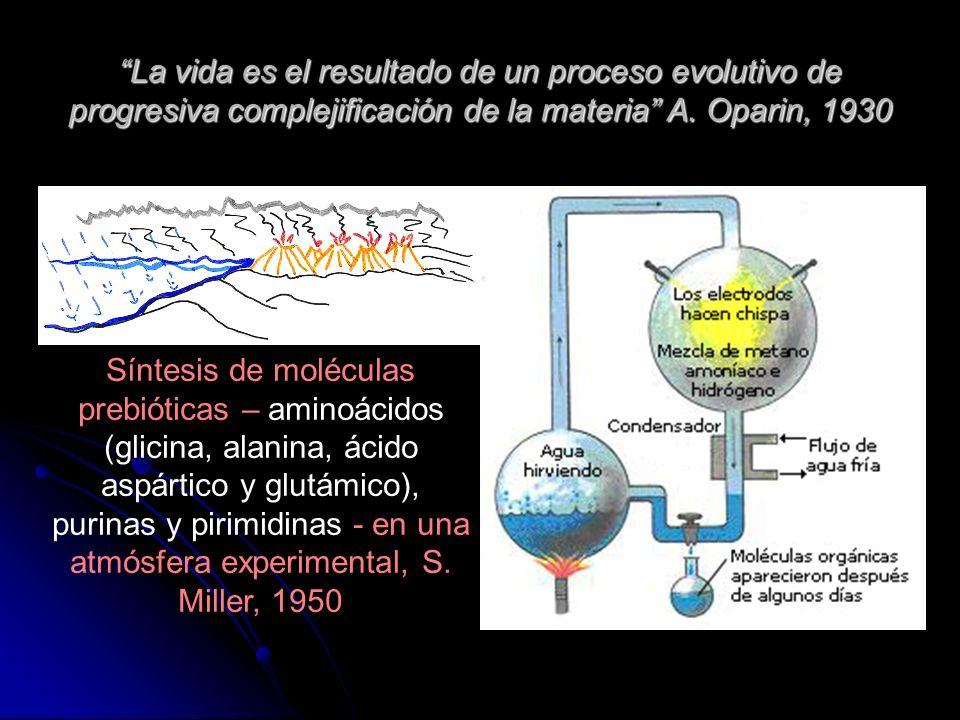 La vida es el resultado de un proceso evolutivo de progresiva complejificación de la materia A. Oparin, 1930