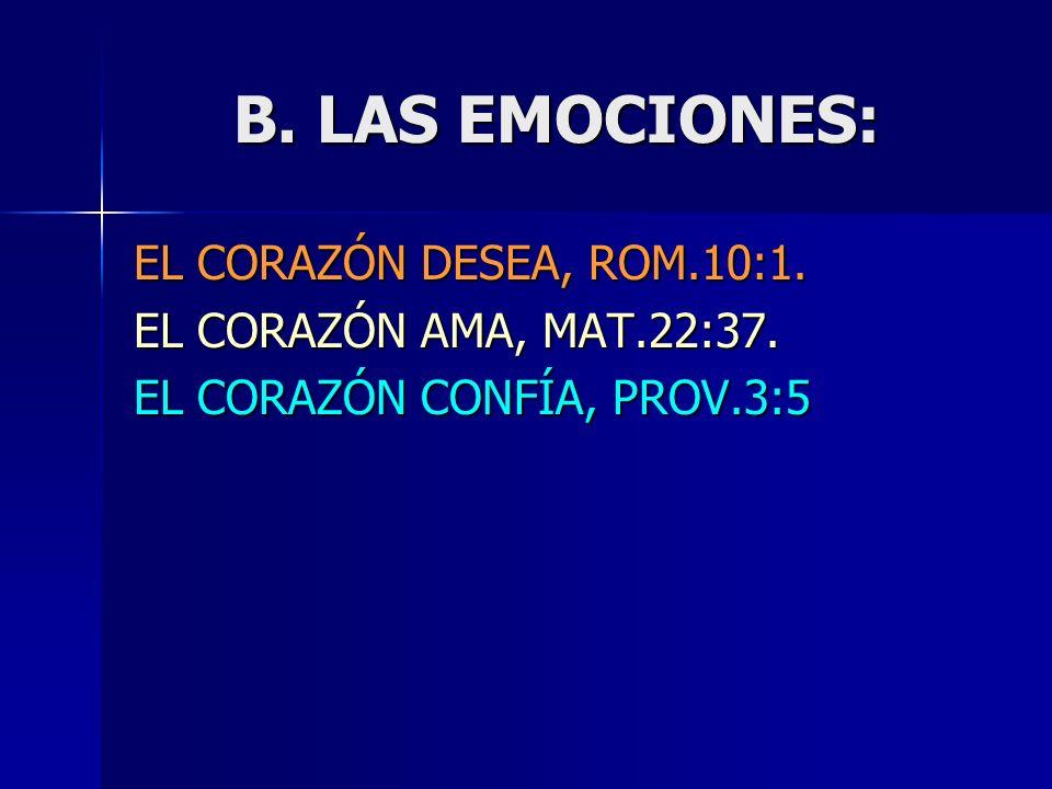 B. LAS EMOCIONES: EL CORAZÓN DESEA, ROM.10:1.