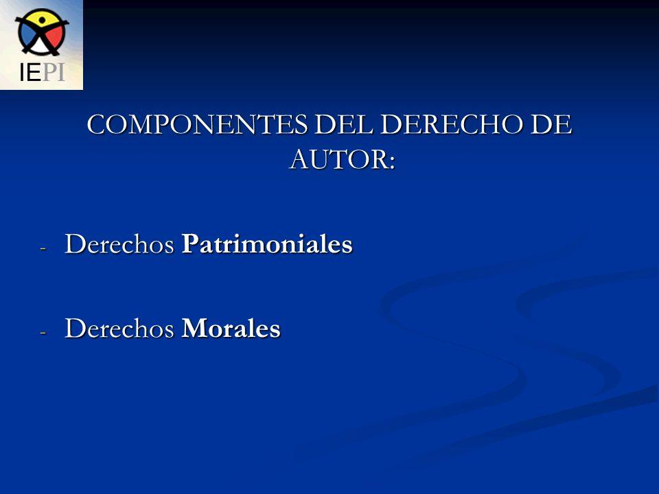 COMPONENTES DEL DERECHO DE AUTOR: