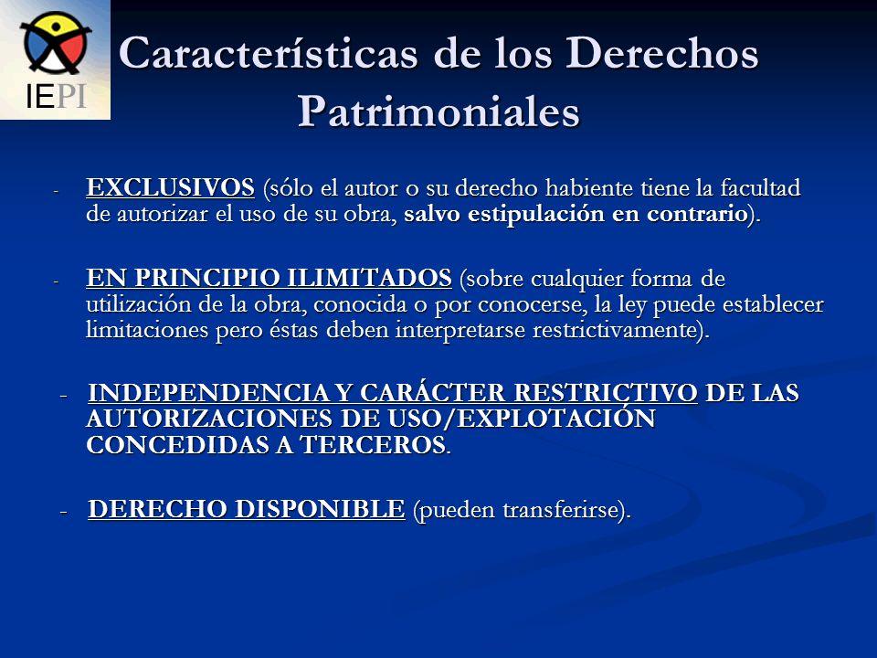 Características de los Derechos Patrimoniales