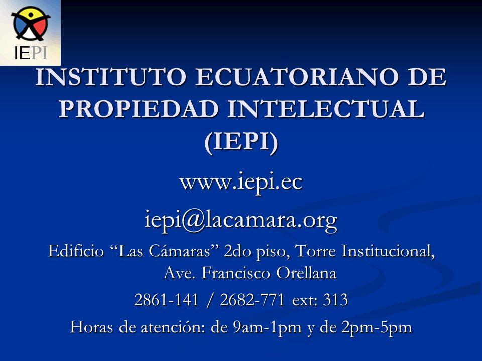INSTITUTO ECUATORIANO DE PROPIEDAD INTELECTUAL (IEPI)