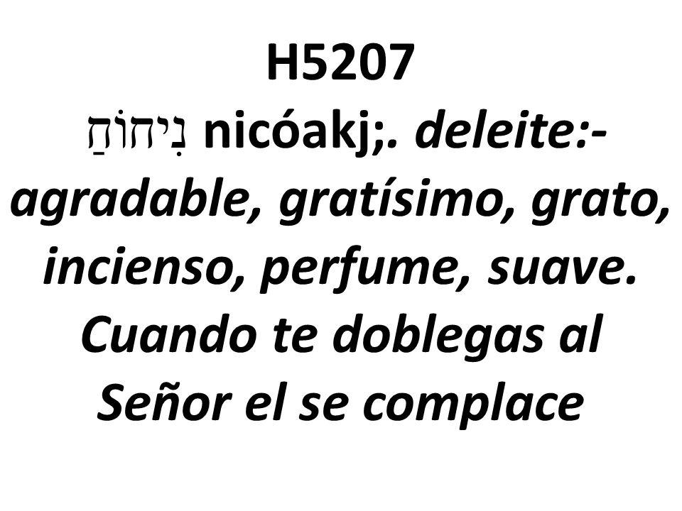 H5207 נִיחוֹחַ nicóakj;.deleite:-agradable, gratísimo, grato, incienso, perfume, suave.