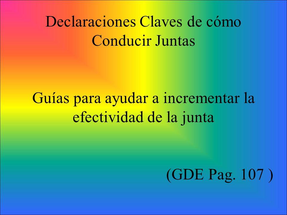Declaraciones Claves de cómo Conducir Juntas