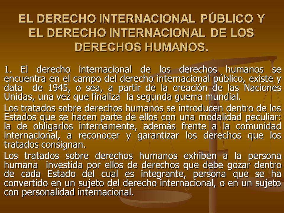 EL DERECHO INTERNACIONAL PÚBLICO Y EL DERECHO INTERNACIONAL DE LOS DERECHOS HUMANOS.