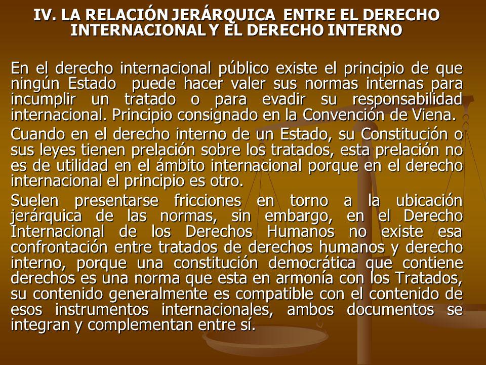 IV. LA RELACIÓN JERÁRQUICA ENTRE EL DERECHO INTERNACIONAL Y EL DERECHO INTERNO