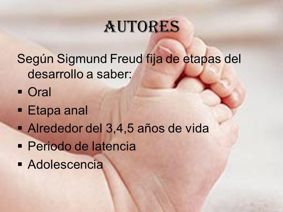 autores Según Sigmund Freud fija de etapas del desarrollo a saber: