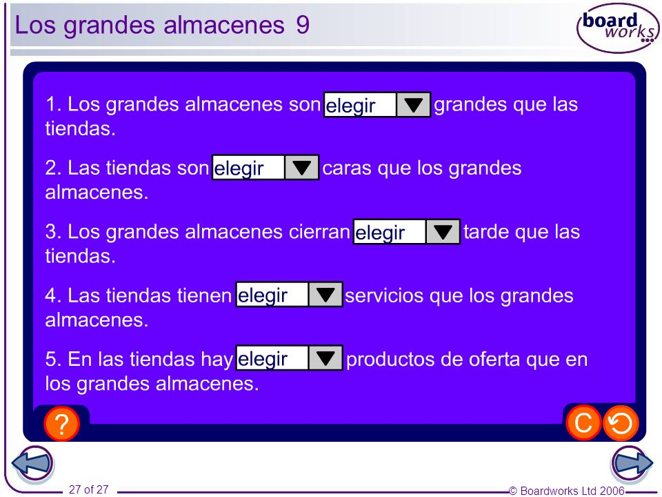 Los grandes almacenes 9 As an extension, ask pupils to form some more comparative phrases of their own.