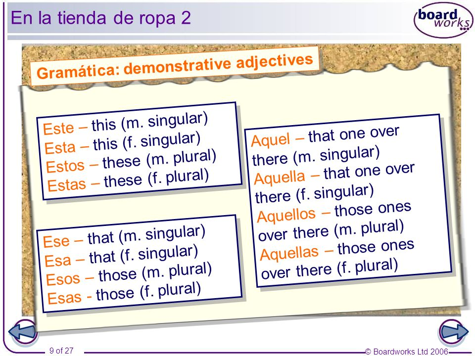 Gramática: demonstrative adjectives