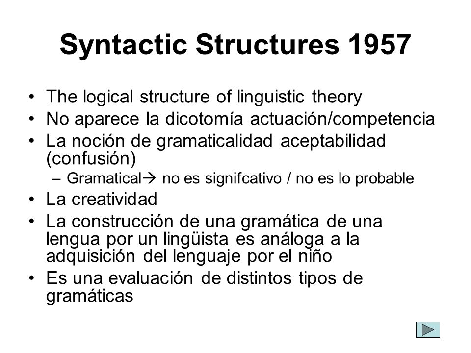 Syntactic Structures 1957 The logical structure of linguistic theory