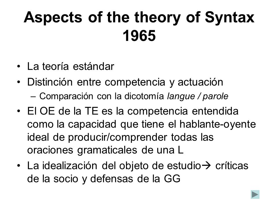 Aspects of the theory of Syntax 1965