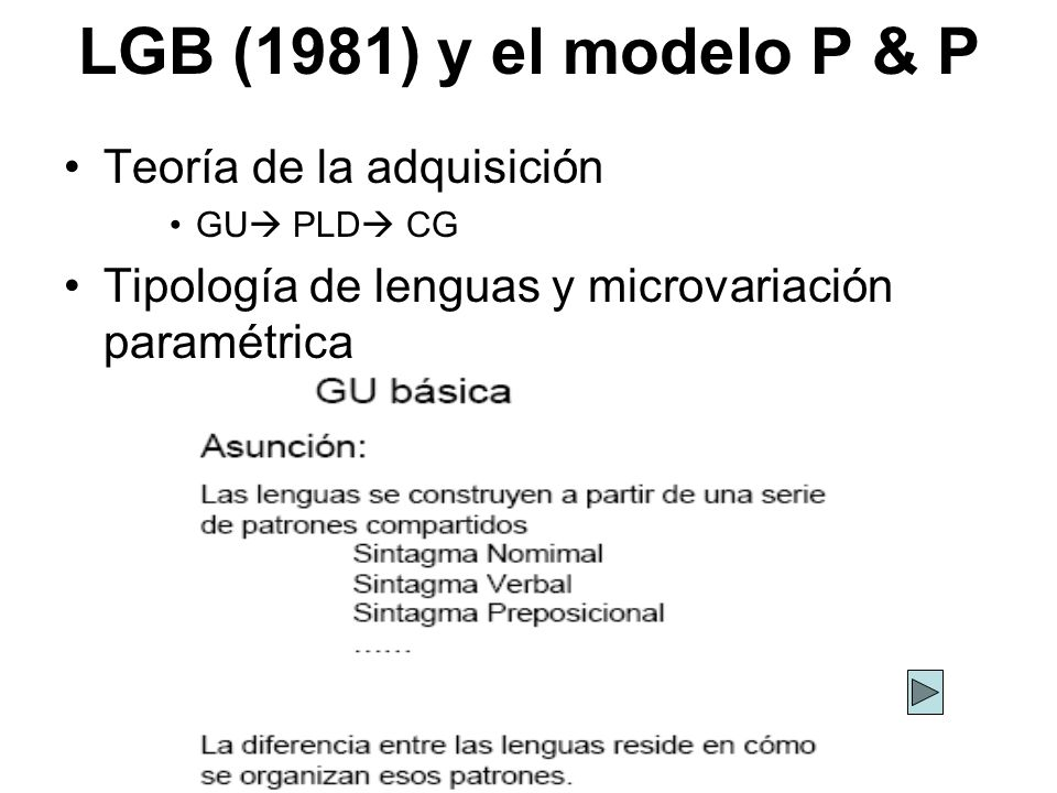 LGB (1981) y el modelo P & P Teoría de la adquisición