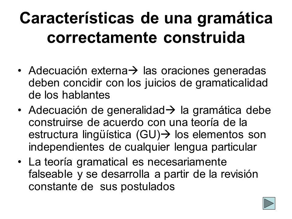 Características de una gramática correctamente construida