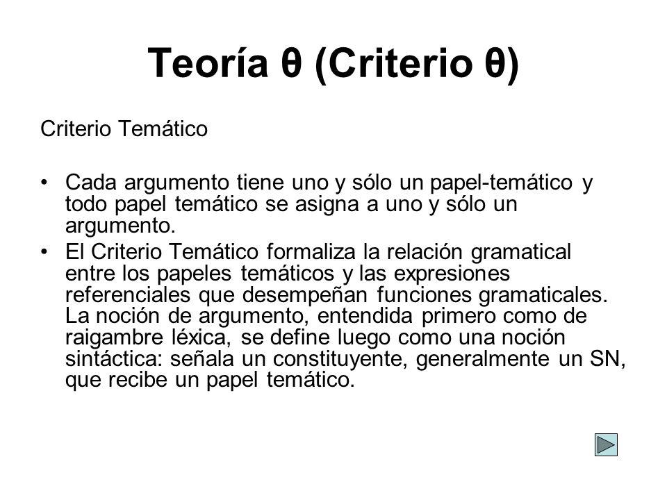 Teoría θ (Criterio θ) Criterio Temático