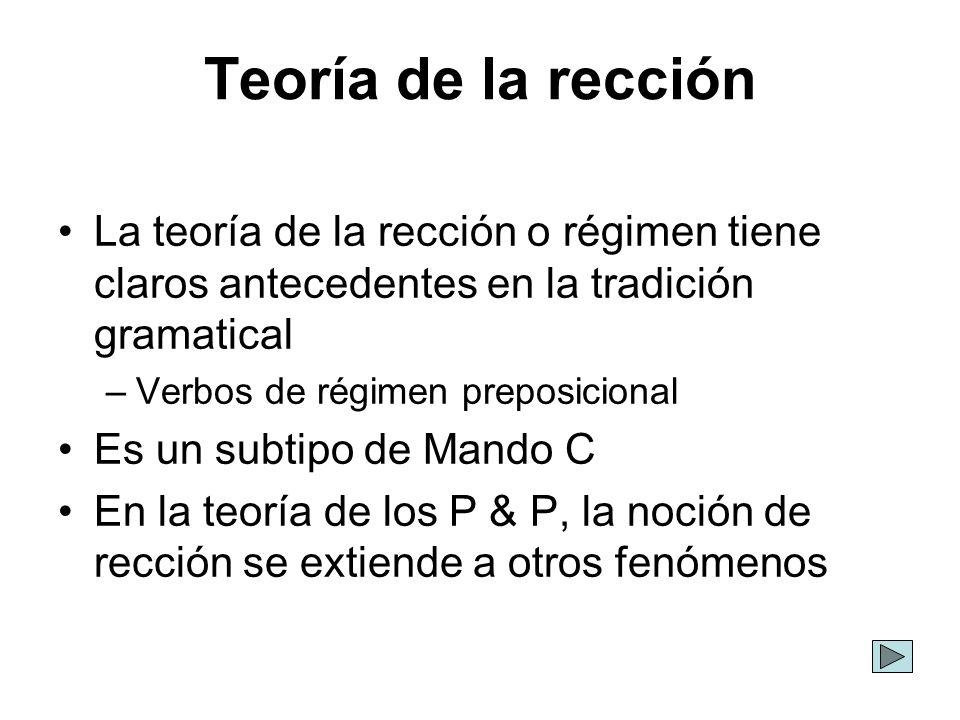 Teoría de la rección La teoría de la rección o régimen tiene claros antecedentes en la tradición gramatical.