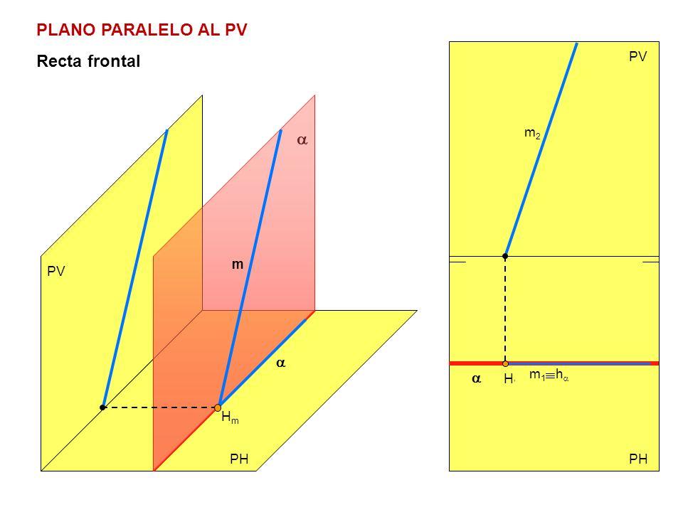PLANO PARALELO AL PV Recta frontal PV a m2 m PV a a m1 ha H' Hm PH PH