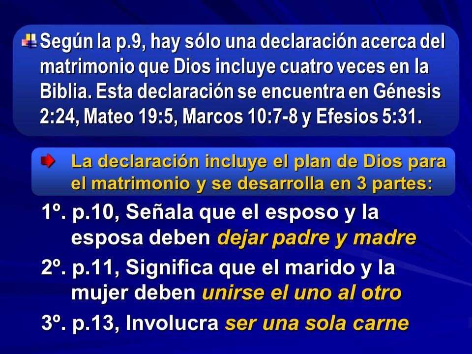 1º. p.10, Señala que el esposo y la esposa deben dejar padre y madre