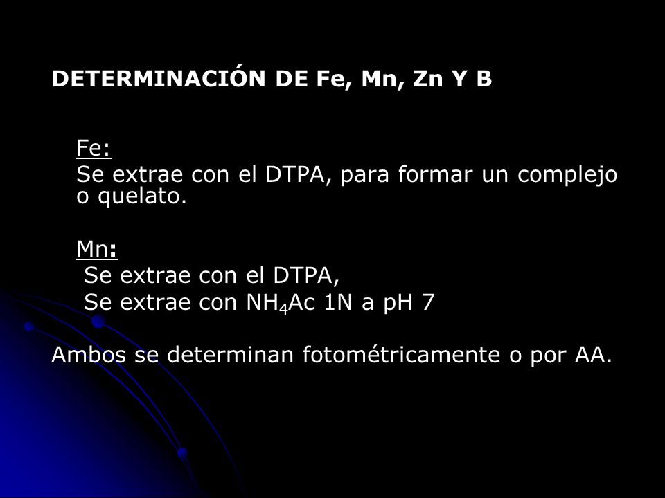 DETERMINACIÓN DE Fe, Mn, Zn Y B