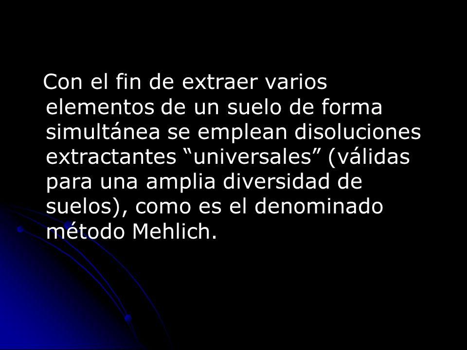Con el fin de extraer varios elementos de un suelo de forma simultánea se emplean disoluciones extractantes universales (válidas para una amplia diversidad de suelos), como es el denominado método Mehlich.