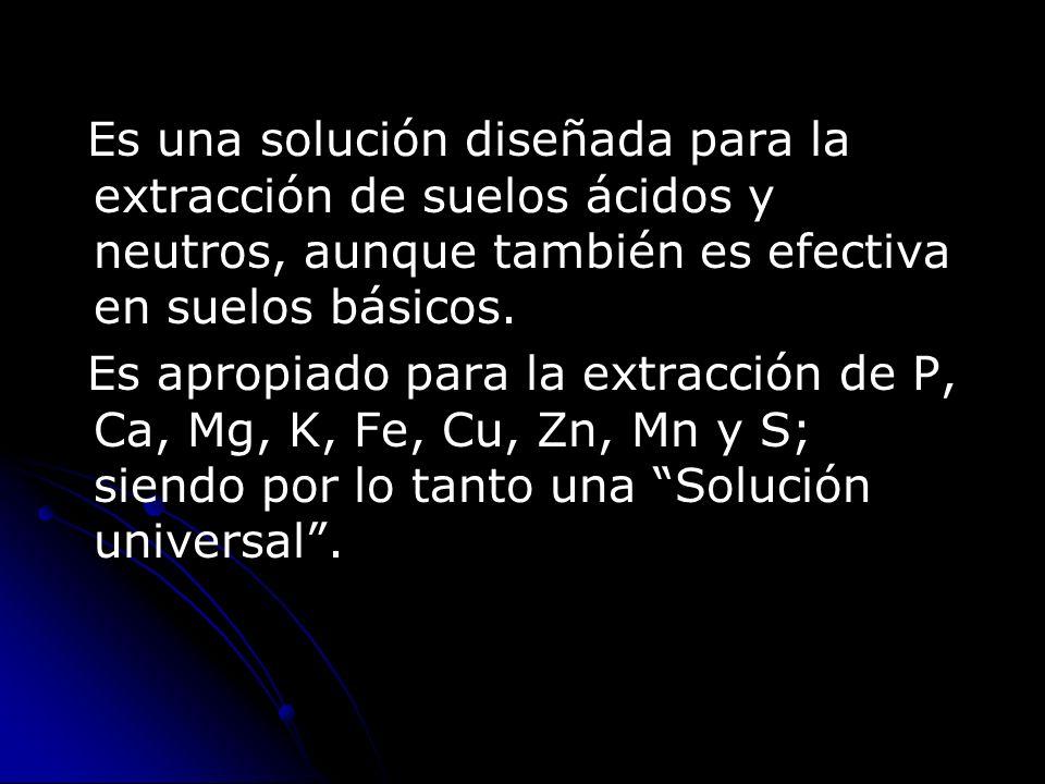 Es una solución diseñada para la extracción de suelos ácidos y neutros, aunque también es efectiva en suelos básicos.
