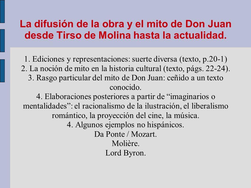 La difusión de la obra y el mito de Don Juan desde Tirso de Molina hasta la actualidad.