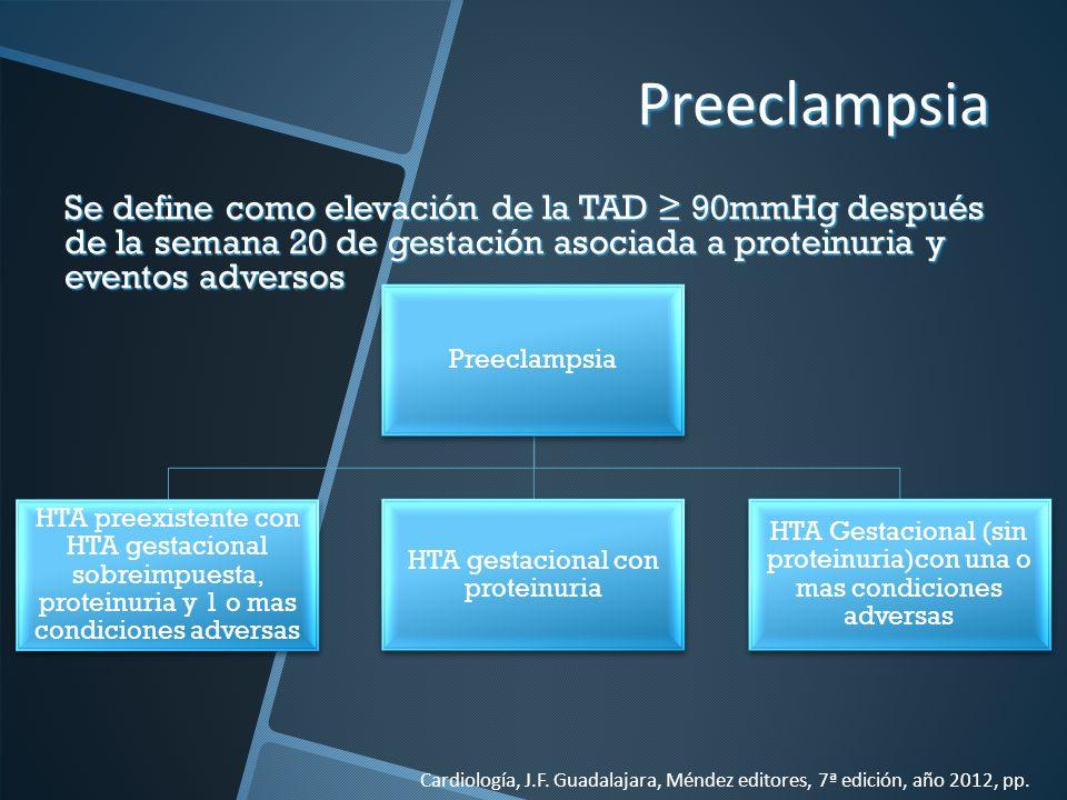 Preeclampsia Preeclampsia. HTA preexistente con HTA gestacional sobreimpuesta, proteinuria y 1 o mas condiciones adversas.