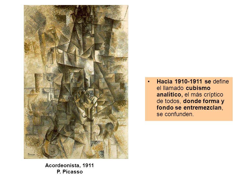 Hacia 1910-1911 se define el llamado cubismo analítico, el más críptico de todos, donde forma y fondo se entremezclan, se confunden.