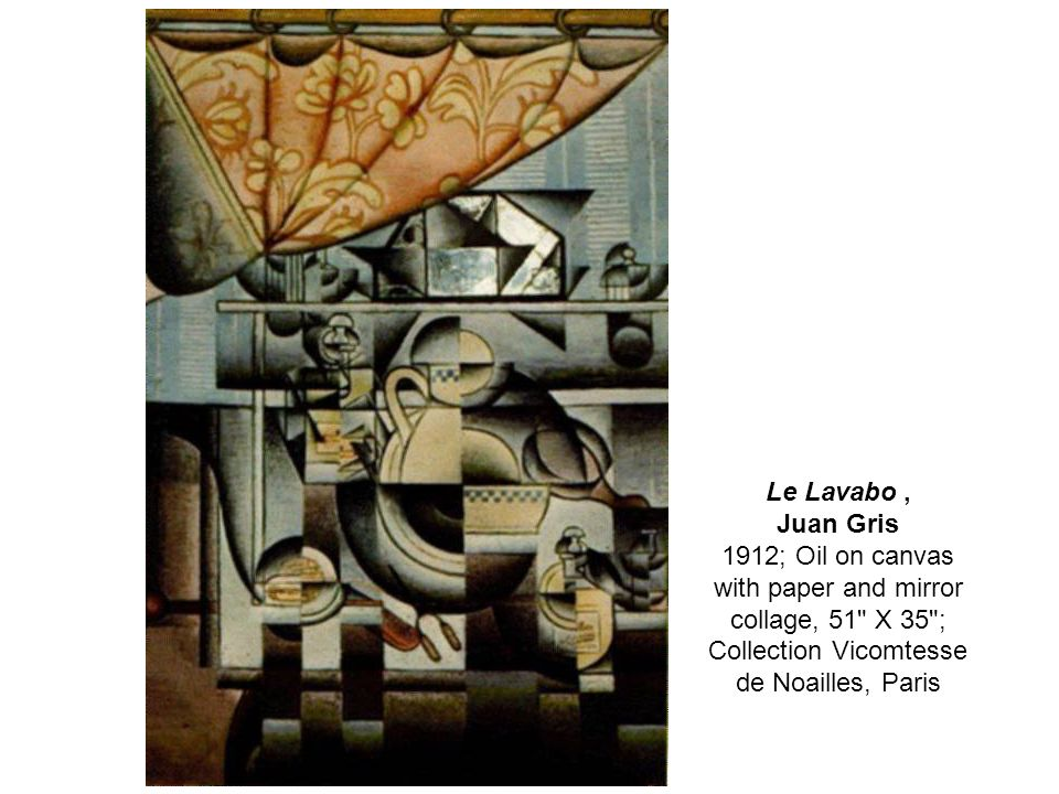 Le Lavabo ,Juan Gris 1912; Oil on canvas with paper and mirror collage, 51 X 35 ; Collection Vicomtesse de Noailles, Paris.