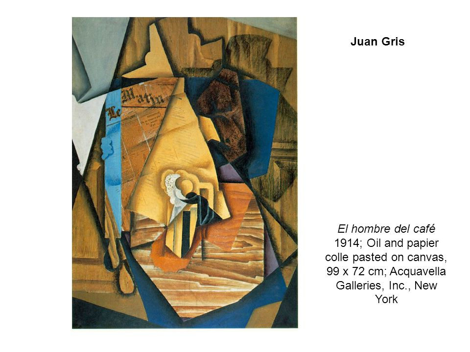 Juan Gris El hombre del café 1914; Oil and papier colle pasted on canvas, 99 x 72 cm; Acquavella Galleries, Inc., New York.