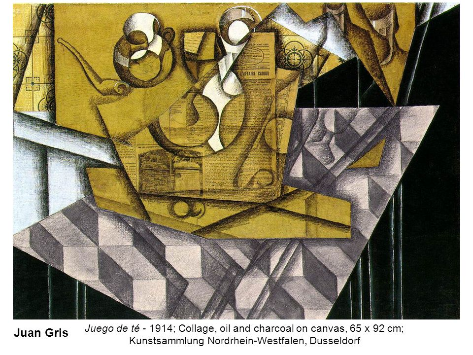 Juego de té - 1914; Collage, oil and charcoal on canvas, 65 x 92 cm;