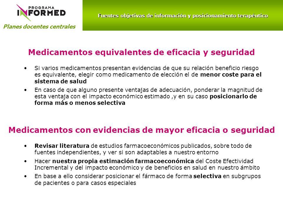 Medicamentos equivalentes de eficacia y seguridad