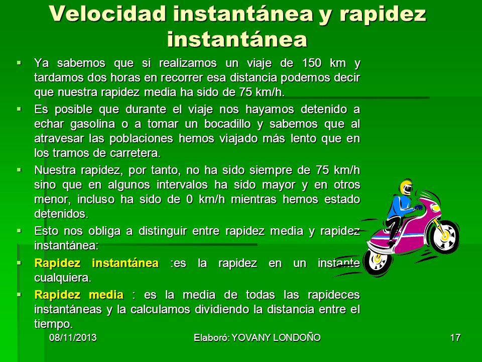 Velocidad instantánea y rapidez instantánea